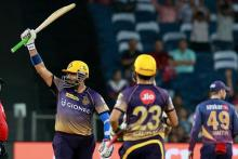 Robin Uthappa of KKR celebrates his fifty with captain Gautam Gambhir against RPS